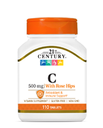 Vitamin C with Rose Hips 500 mg by 21st Century HealthCare, Inc., view from the front.