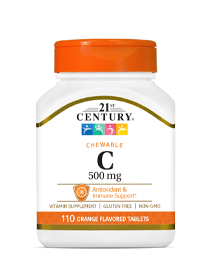 Vitamin C 500 mg Orange by 21st Century HealthCare, Inc., view from the front.
