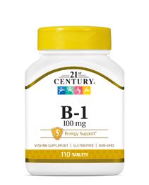 Vitamin B-1 100 mg by 21st Century HealthCare, Inc., view from the front.