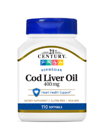 Norwegian Cod Liver Oil  400 mg by 21st Century HealthCare, Inc., view from the front.