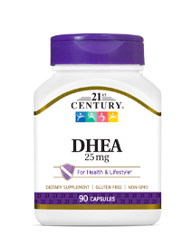 DHEA 25 mg by 21st Century HealthCare, Inc., view from the front.