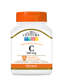 Vitamin C 500 mg by 21st Century HealthCare, Inc., view from the front.