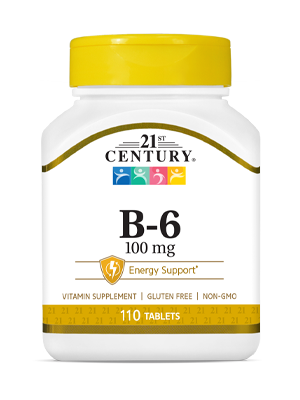 Vitamin B-6 100 mg by 21st Century HealthCare, Inc., view from the front.