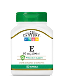 Vitamin E 90 mg by 21st Century HealthCare, Inc., view from the front.