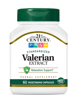 Valerian Extract by 21st Century HealthCare, Inc., view from the front.