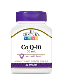 Co Q-10 30 mg by 21st Century HealthCare, Inc., view from the front.