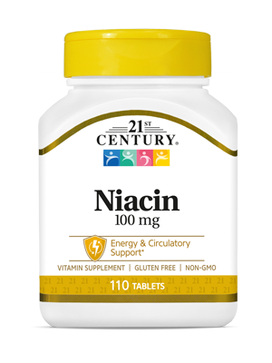 Niacin 100 mg by 21st Century HealthCare, Inc., view from the front.