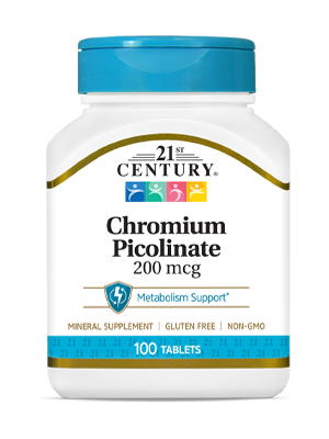 Chromium Picolinate 200 mcg by 21st Century HealthCare, Inc., view from the front.