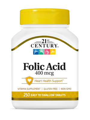 Folic Acid 400 mcg by 21st Century HealthCare, Inc., view from the front.