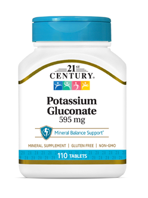 Potassium Gluconate 595 mg by 21st Century HealthCare, Inc., view from the front.