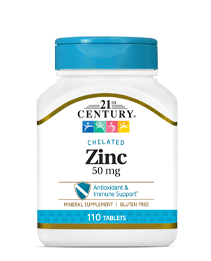 Zinc 50 mg by 21st Century HealthCare, Inc., view from the front.