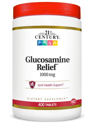 Glucosamine Relief® 1000 mg by 21st Century HealthCare, Inc., view from the front.