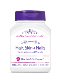 Hair, Skin & Nails Advanced Formula by 21st Century HealthCare, Inc., view from the front.