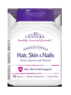 Hair Skin Nails Advanced Formula 50 Tablets 21st