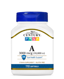 Vitamin A 3000 mcg by 21st Century HealthCare, Inc., view from the front.