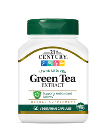 Green Tea Extract by 21st Century HealthCare, Inc., view from the front.