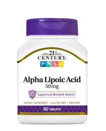 Alpha Lipoic Acid 50 mg by 21st Century HealthCare, Inc., view from the front.
