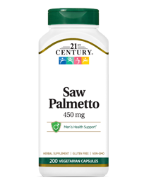 Saw Palmetto 450 mg by 21st Century HealthCare, Inc., view from the front.
