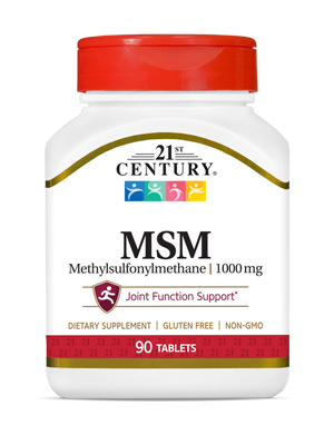 MSM 1000 mg by 21st Century HealthCare, Inc., view from the front.