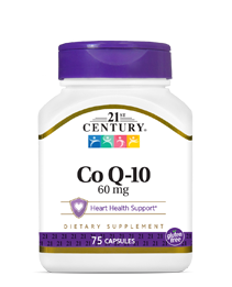 Co Q-10 60 mg by 21st Century HealthCare, Inc., view from the front.