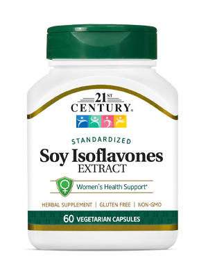 Soy Isoflavones Extract by 21st Century HealthCare, Inc., view from the front.