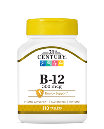 Vitamin B-12 500 mcg by 21st Century HealthCare, Inc., view from the front.