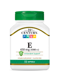 Vitamin E 450 mg by 21st Century HealthCare, Inc., view from the front.