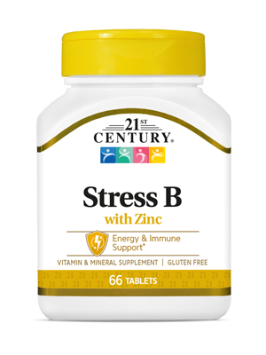 Stress B with Zinc by 21st Century HealthCare, Inc., view from the front.