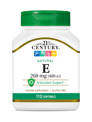 Natural Vitamin E 268 mg by 21st Century HealthCare, Inc., view from the front.