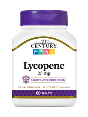Lycopene 25 mg by 21st Century HealthCare, Inc., view from the front.