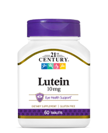 Lutein 10 mg by 21st Century HealthCare, Inc., view from the front.