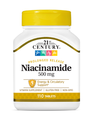 Niacinamide 500 mg by 21st Century HealthCare, Inc., view from the front.