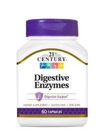 Digestive Enzymes by 21st Century HealthCare, Inc., view from the front.