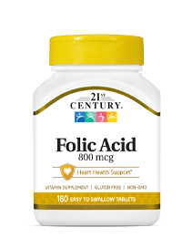 Folic Acid 800 mcg by 21st Century HealthCare, Inc., view from the front.