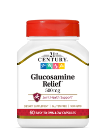 Glucosamine Relief® 500 mg by 21st Century HealthCare, Inc., view from the front.