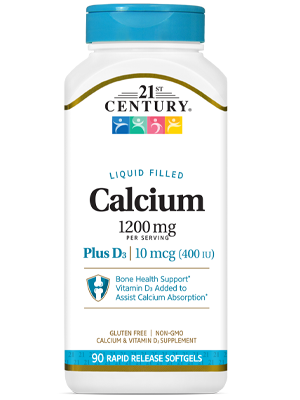 Calcium 1200 mg +D3 by 21st Century HealthCare, Inc., view from the front.