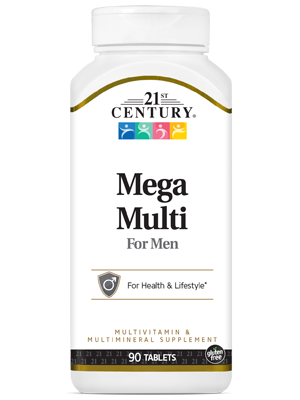 Mega Multi for Men by 21st Century HealthCare, Inc., view from the front.