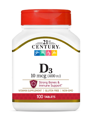 Vitamin D3 10 mcg by 21st Century HealthCare, Inc., view from the front.
