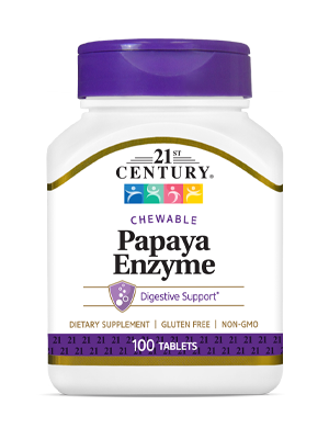 Papaya Enzyme  by 21st Century HealthCare, Inc., view from the front.