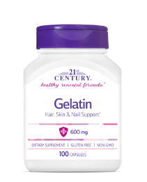 Gelatin 600 mg by 21st Century HealthCare, Inc., view from the front.