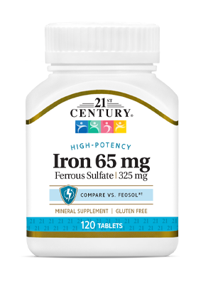 Iron 65 mg by 21st Century HealthCare, Inc., view from the front.