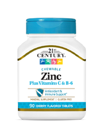 Zinc Chewable Plus Vitamins C & B-6 Cherry by 21st Century HealthCare, Inc., view from the front.