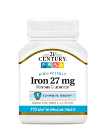 Iron 27 mg by 21st Century HealthCare, Inc., view from the front.