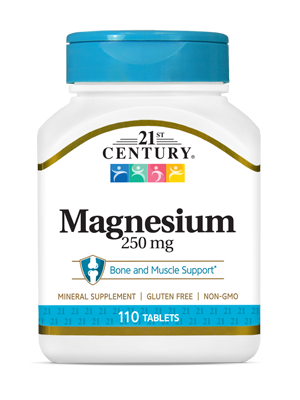 Magnesium 250 mg by 21st Century HealthCare, Inc., view from the front.