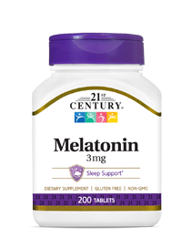 Melatonin 3 mg by 21st Century HealthCare, Inc., view from the front.
