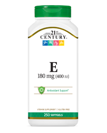 Vitamin E 180 mg by 21st Century HealthCare, Inc., view from the front.