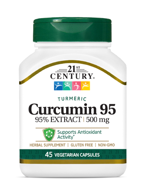 Curcumin 95 by 21st Century HealthCare, Inc., view from the front.