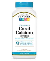 Coral Calcium 1000 mg by 21st Century HealthCare, Inc., view from the front.