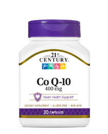 Co Q-10 400 mg by 21st Century HealthCare, Inc., view from the front.
