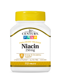 Niacin 250 mg by 21st Century HealthCare, Inc., view from the front.